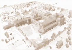A reconstruction of the medieval abbey by Sandra Oakins